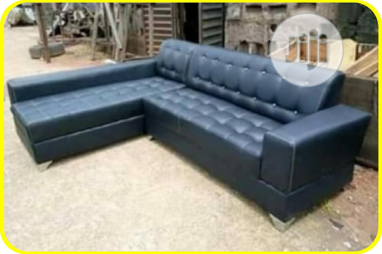 L-shaped Blue Sofa