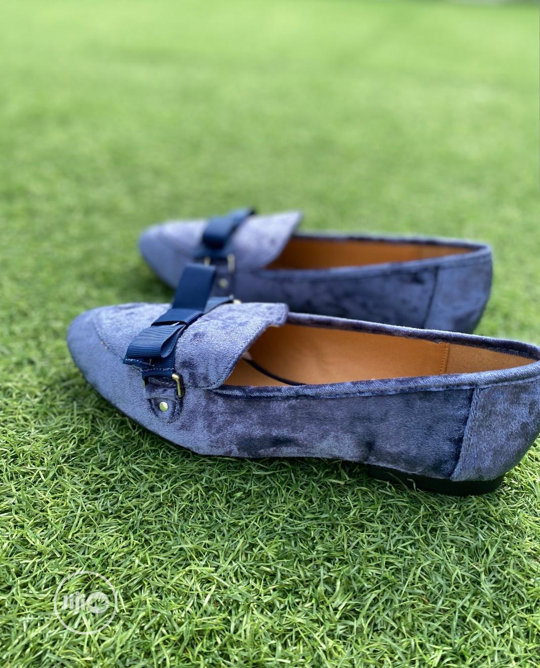 Fashion Ladies Dark Blue Crush Velvet Female Flat Shoe   Shoes for sale in Surulere, Lagos State, Nigeria