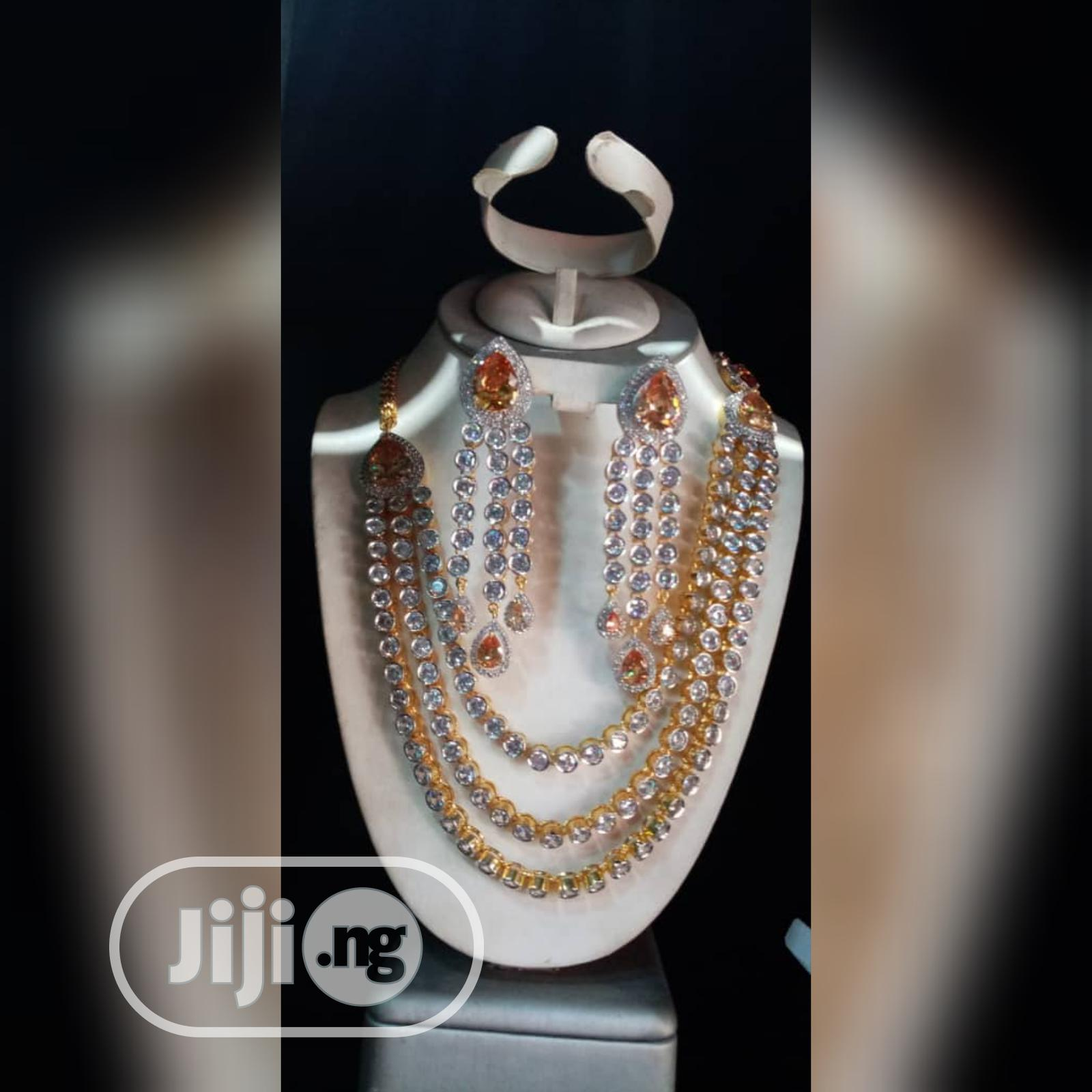 Cubic Zirconia Indian Set 2pcs Silver and Gold Jewelry | Jewelry for sale in Gbagada, Lagos State, Nigeria
