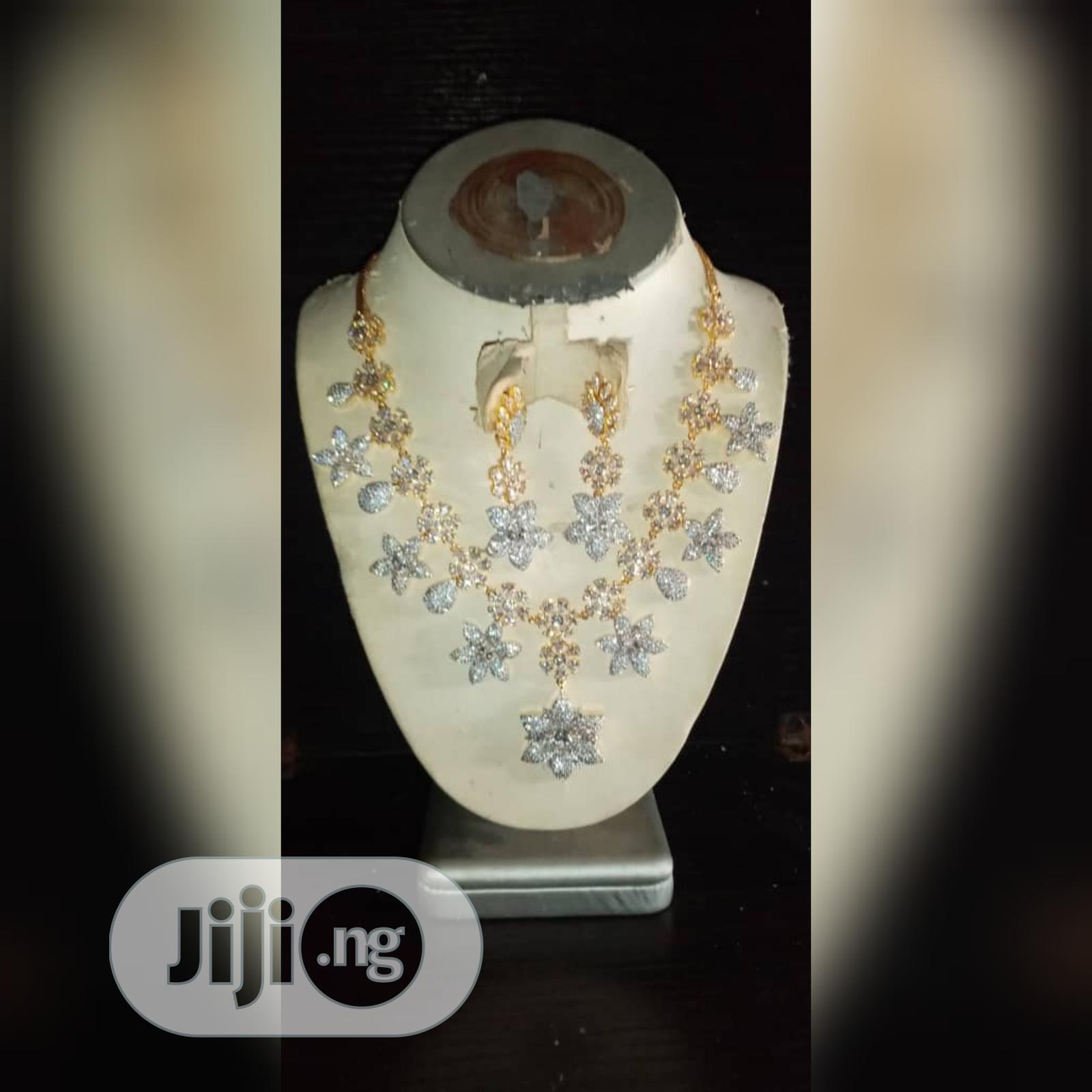 Cubic Zirconia Korea Set of 2pcs Silver and Gold Jewelry | Jewelry for sale in Gbagada, Lagos State, Nigeria