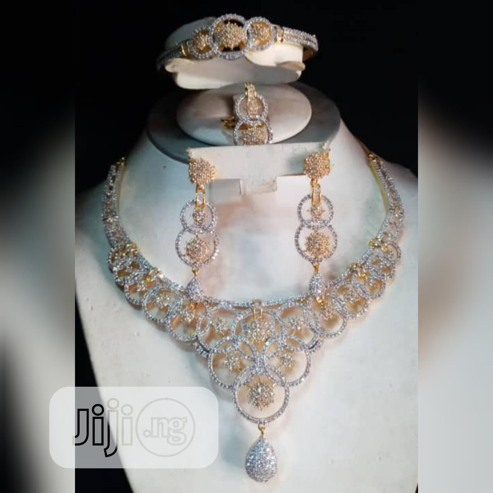 Cubic Zirconia Indian Set of 4pcs Silver and Gold Jewelry | Jewelry for sale in Gbagada, Lagos State, Nigeria