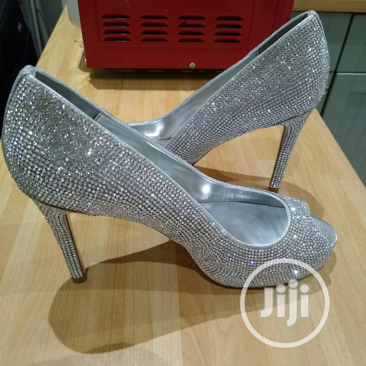 Date Night Embellished Peep Toe Court Shoes, Silver | Wedding Wear & Accessories for sale in Surulere, Lagos State, Nigeria