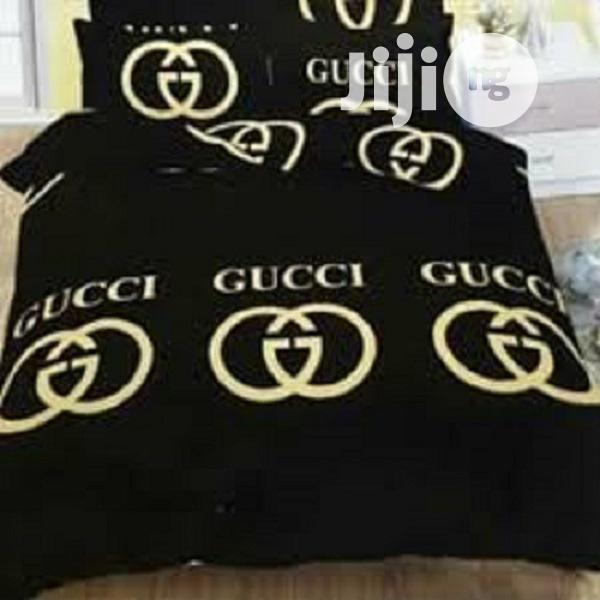Flat 6x6 Bed Sheets With 4 Pillowcase - Gucci Black | Home Accessories for sale in Surulere, Lagos State, Nigeria