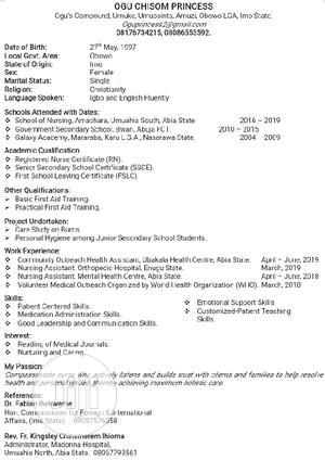 Healthcare Nursing CV   Healthcare & Nursing CVs for sale in Abuja (FCT) State, Maitama