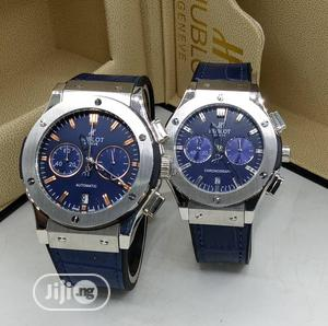 Hublot Chronograph Silver Leather Strap Watch for Couple's | Watches for sale in Lagos State, Lagos Island (Eko)