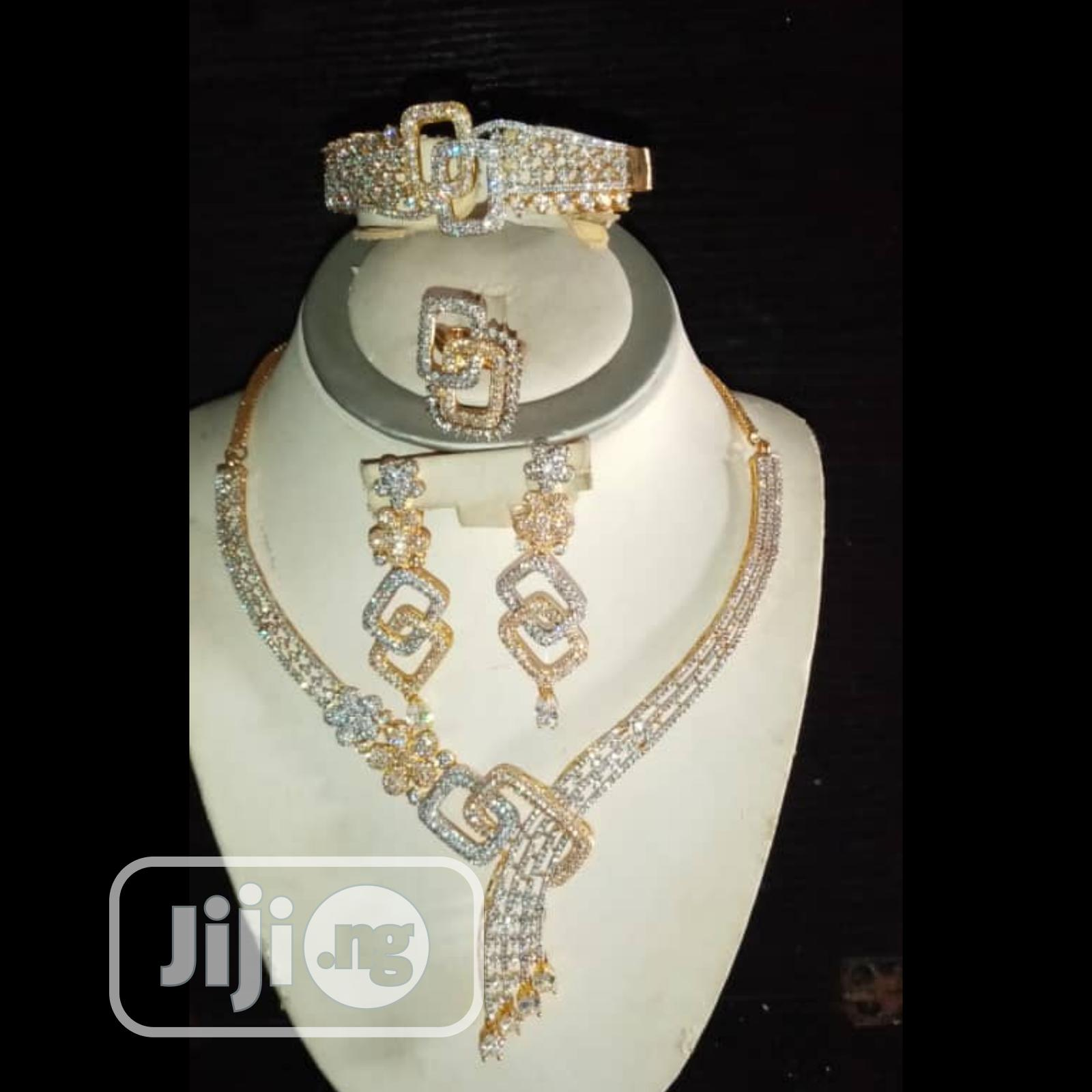 Cubic Zirconia Indian Set Of 4pcs Gold | Jewelry for sale in Gbagada, Lagos State, Nigeria