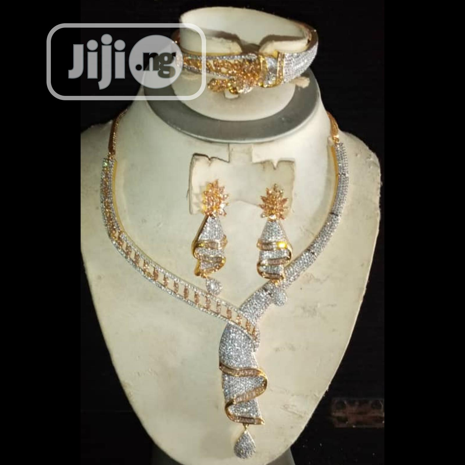 Cubic Zirconia Indian Set Of 4pcs Silver and Gold Jewelry