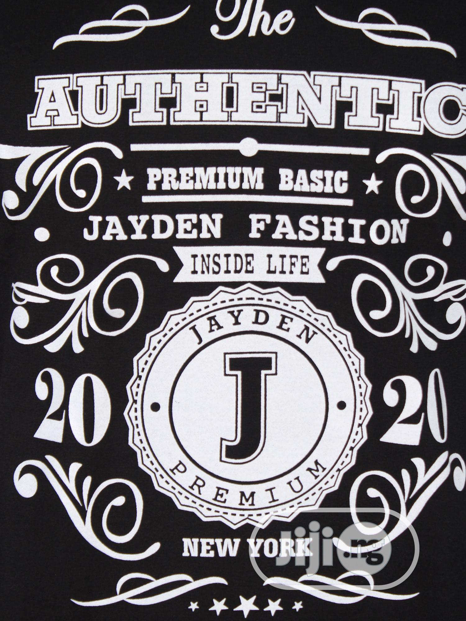 Jayden Apparelkare Printed T-Shirt Black   Clothing for sale in Surulere, Lagos State, Nigeria
