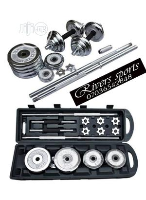 2in1 50kg Adjustable Cast Chrome Barbell With Dumbbell Set | Sports Equipment for sale in Rivers State, Port-Harcourt
