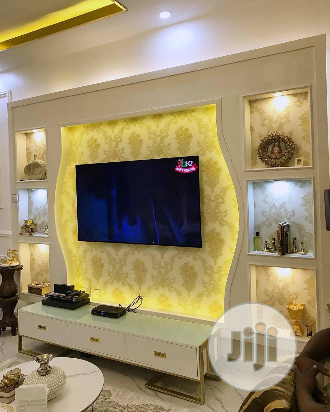 Tv Wall False Design. Wallpaper, 3d Panel. | Building & Trades Services for sale in Lagos Island (Eko), Lagos State, Nigeria