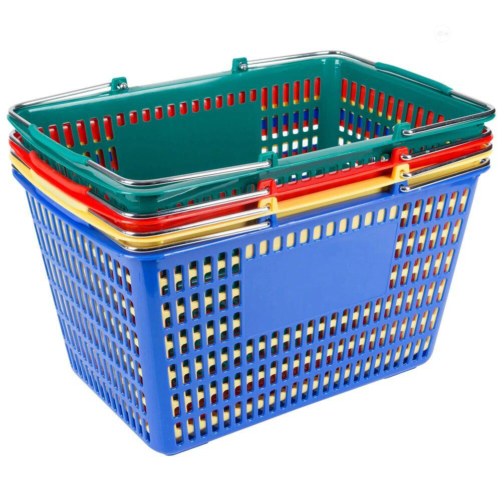 Off Shore Wire Handle Hand Plastic Shopping Basket