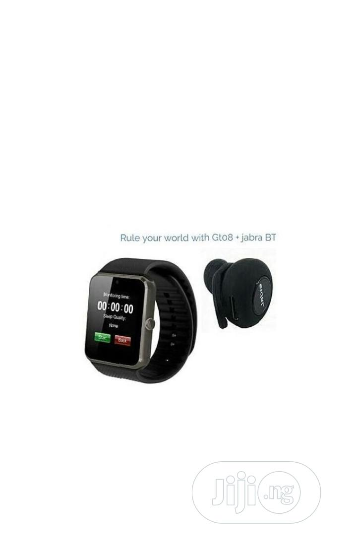Gt08 Smart Watch With Sim+ Free Jabra Bluetooth Earpiece