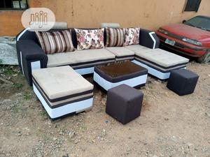 L-Shaped Sofa Chair With Table,Puff,2 Stools. Fabric Couches   Furniture for sale in Lagos State, Amuwo-Odofin