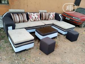 L-Shaped Sofa Chair With Table,Puff,2 Stools. Fabric Couches   Furniture for sale in Lagos State, Ikotun/Igando