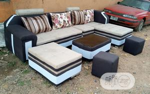 L-Shape Sofa Chairs With Table,Puff,And Stools. Fabric Couch   Furniture for sale in Lagos State, Gbagada