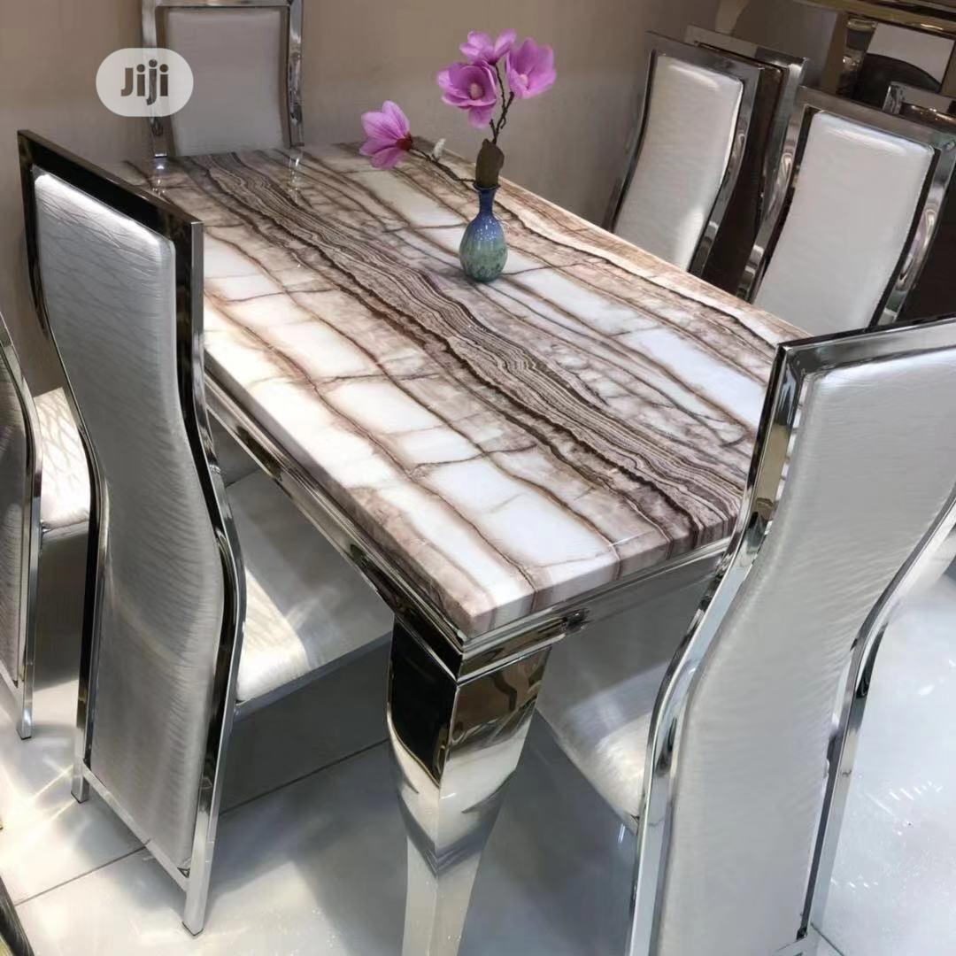 Picture of: Marble Dining Table With 6 Chairs In Ojo Furniture Finet Furniture Jiji Ng