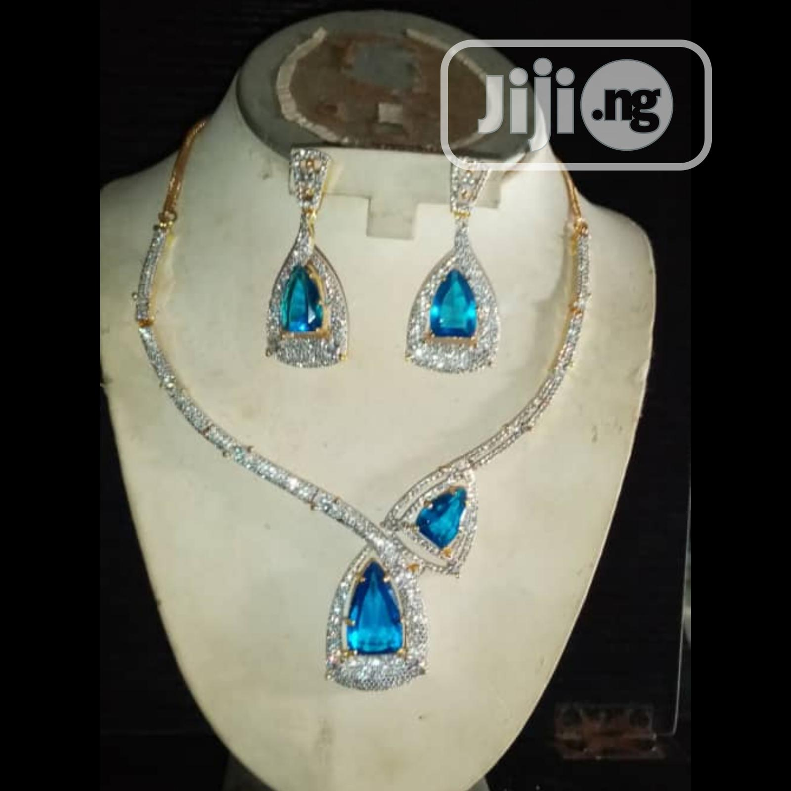 Cubic Zirconia Indian Set of 2pcs Silver, Gold Blue Jewelry | Jewelry for sale in Ikeja, Lagos State, Nigeria