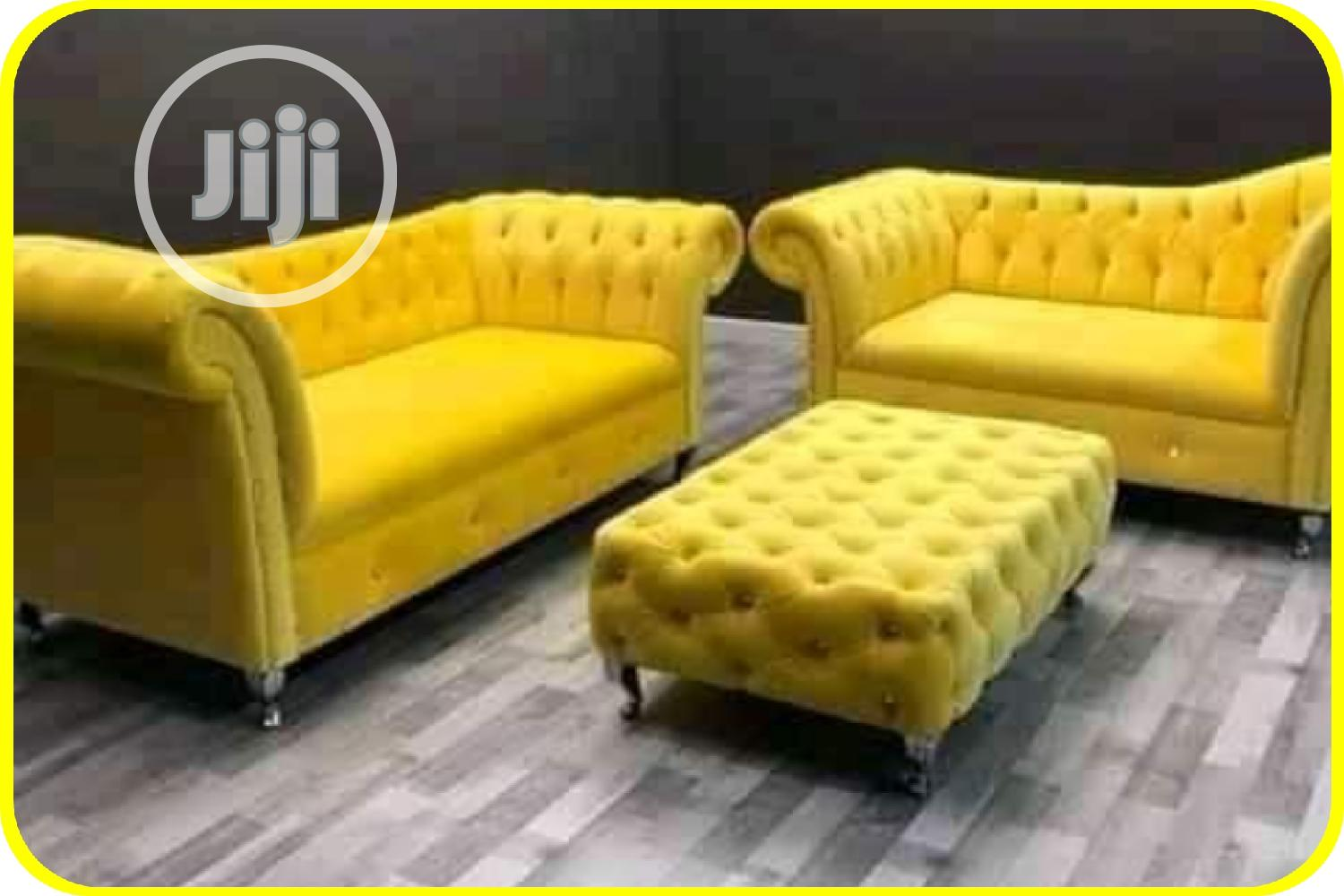 Yellow Sofa With Center Table