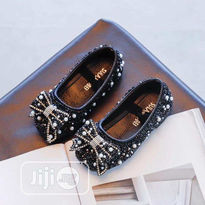 Girls Black Glittery Shoe