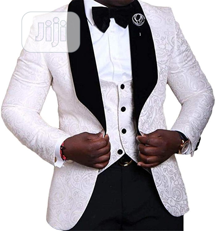 3 Piece Suit Tuxedo Jacquard Wedding Suit For Men