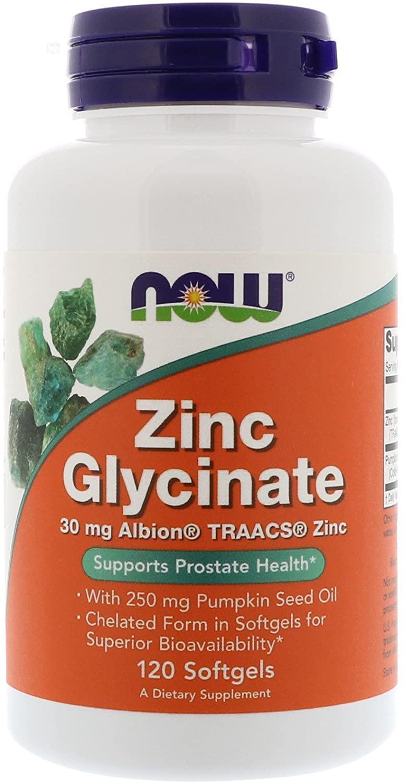 Zinc Glycinate 30mg With 250mg Pumpkin Seed Oil, 120 Sftgels