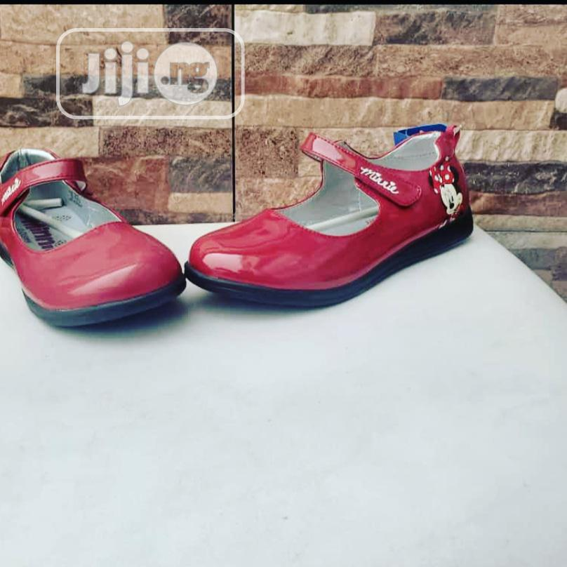 Wine Red Flat Shoes For Girls