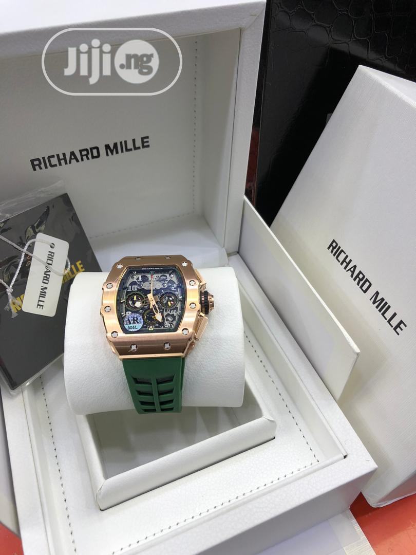 Richard Mille Chronograph Rose Gold Green Rubber Watch
