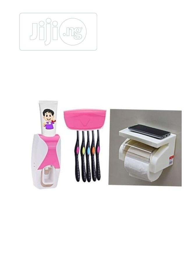 Tissue Holder, Toothpaste Dispenser & Toothbrush Holder