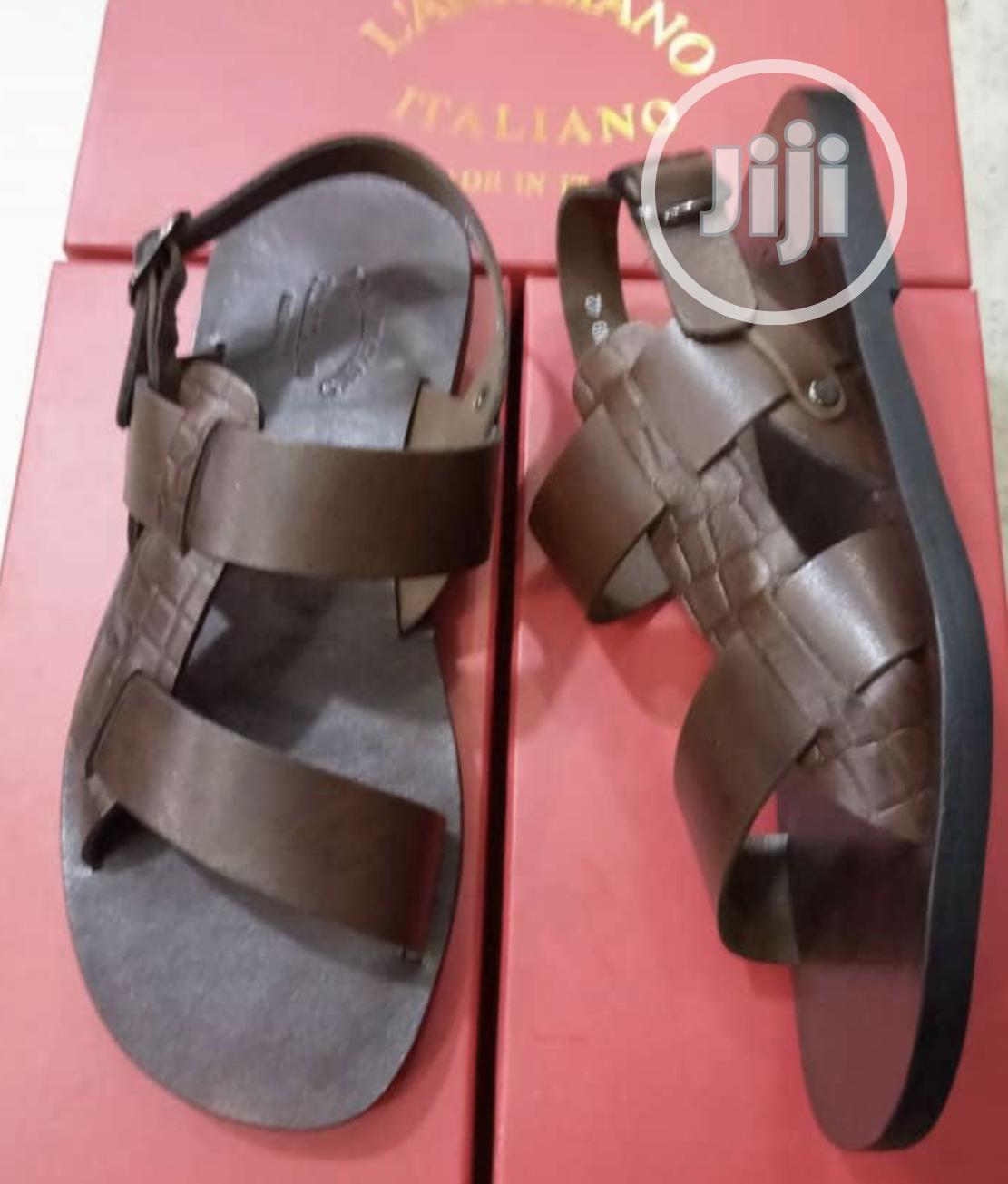 L'Artigiano Brown Leather Sandal for Men