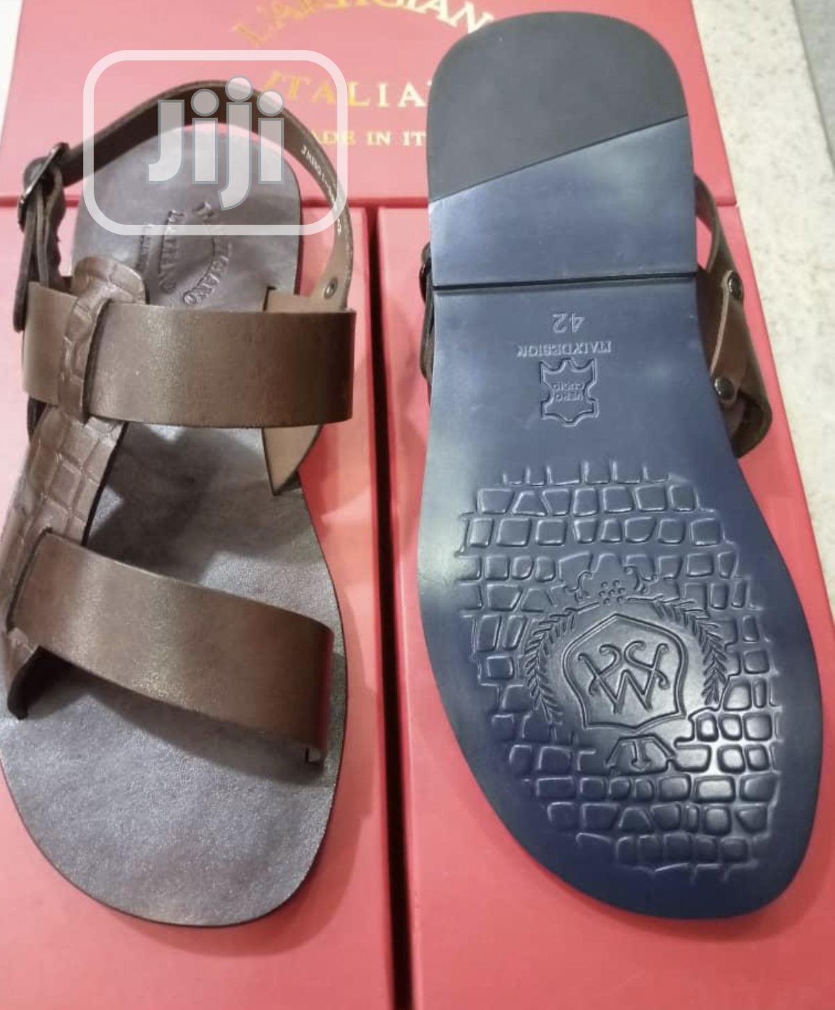 L'Artigiano Brown Leather Sandal for Men | Shoes for sale in Lekki, Lagos State, Nigeria