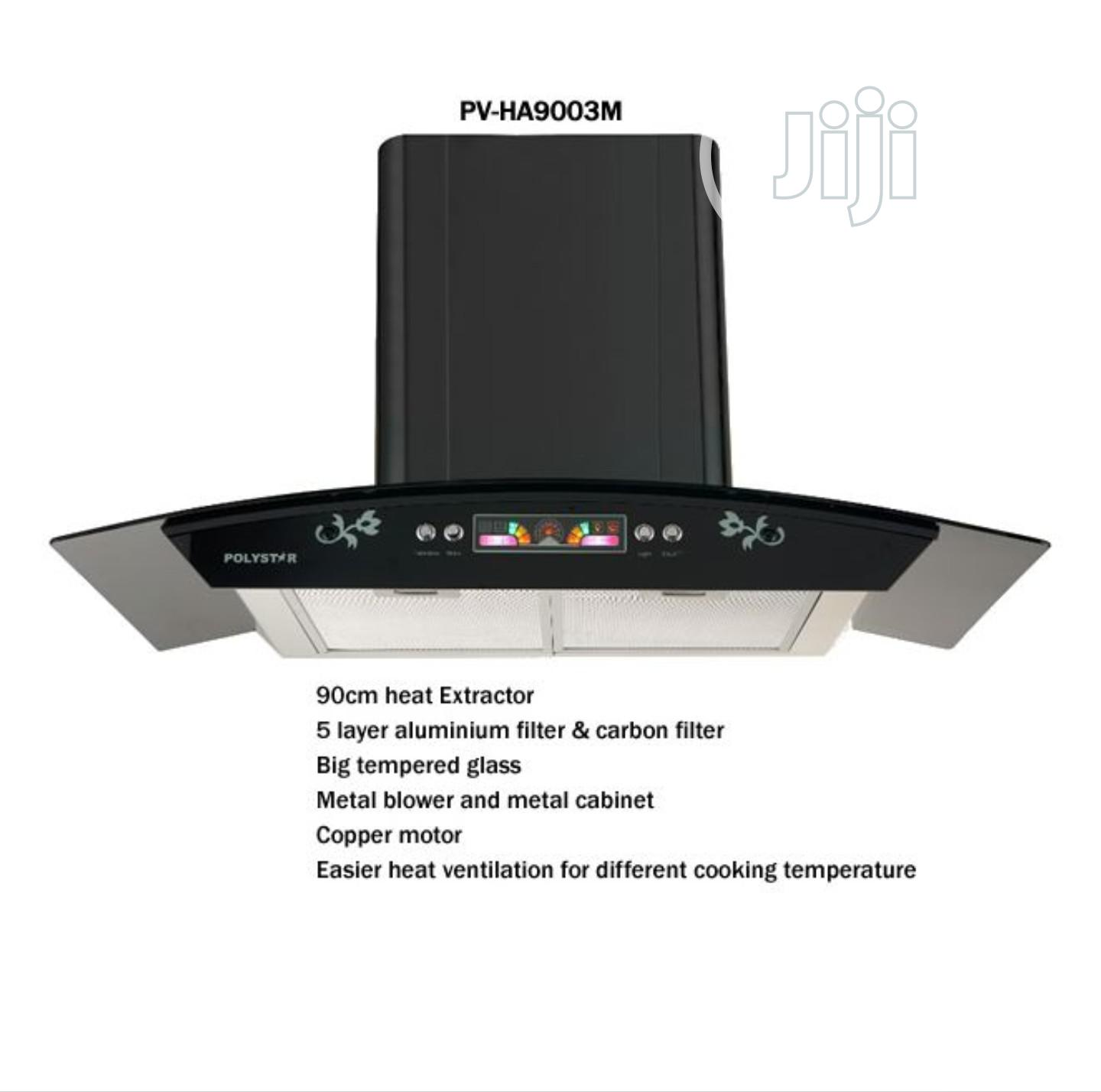 Polystar 90cm Digital Range Hood Tempered Glass PV-HA9003M | Kitchen Appliances for sale in Ojo, Lagos State, Nigeria