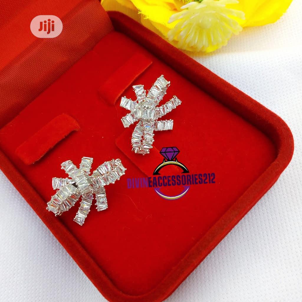 Zirconia Bow Earrings