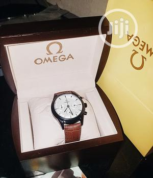 Omega Chronograph Watch, Genuine Leather Strap | Watches for sale in Lagos State, Surulere
