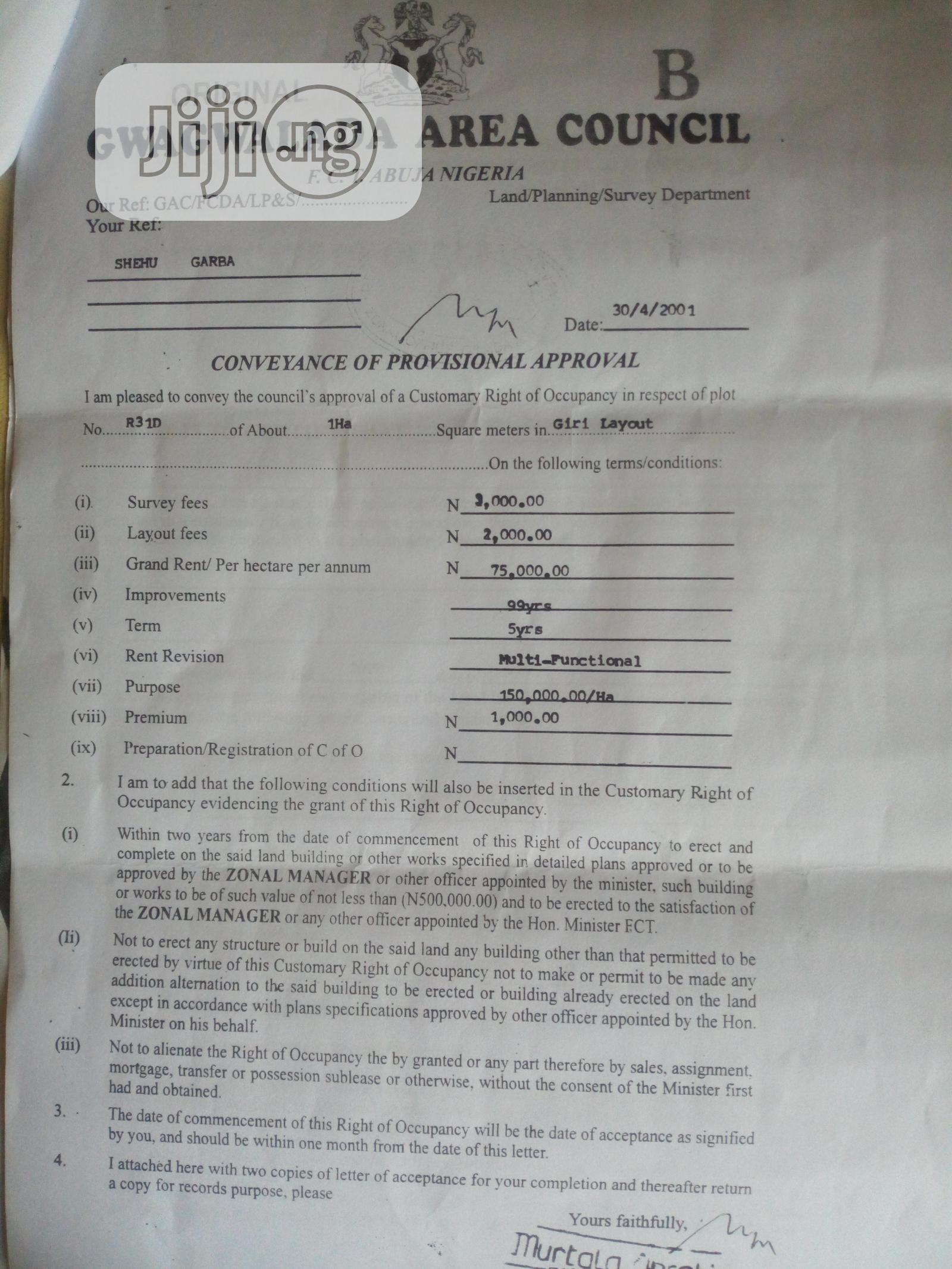 1 Hectare Of Land At Giri Junction With C Of O | Land & Plots For Sale for sale in Central Business Dis, Abuja (FCT) State, Nigeria