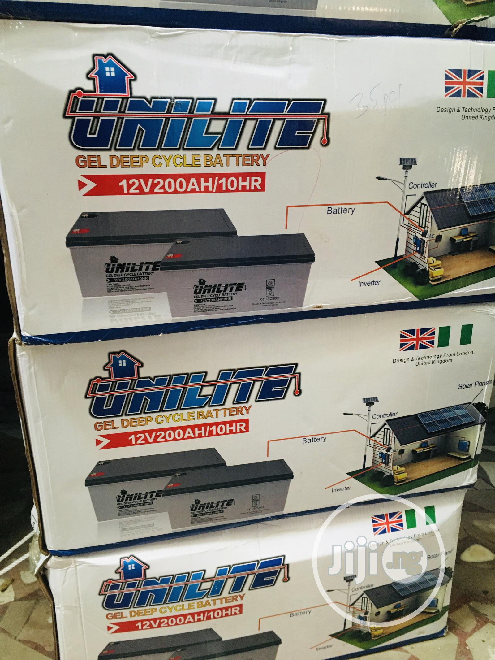 200ah 12v Unilite Battery Available With 1yr Warranty | Solar Energy for sale in Ikeja, Lagos State, Nigeria
