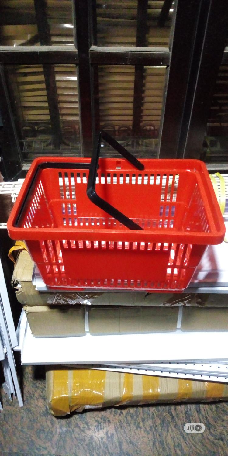 Red Colour With Black Double Handles Shopping Baskets