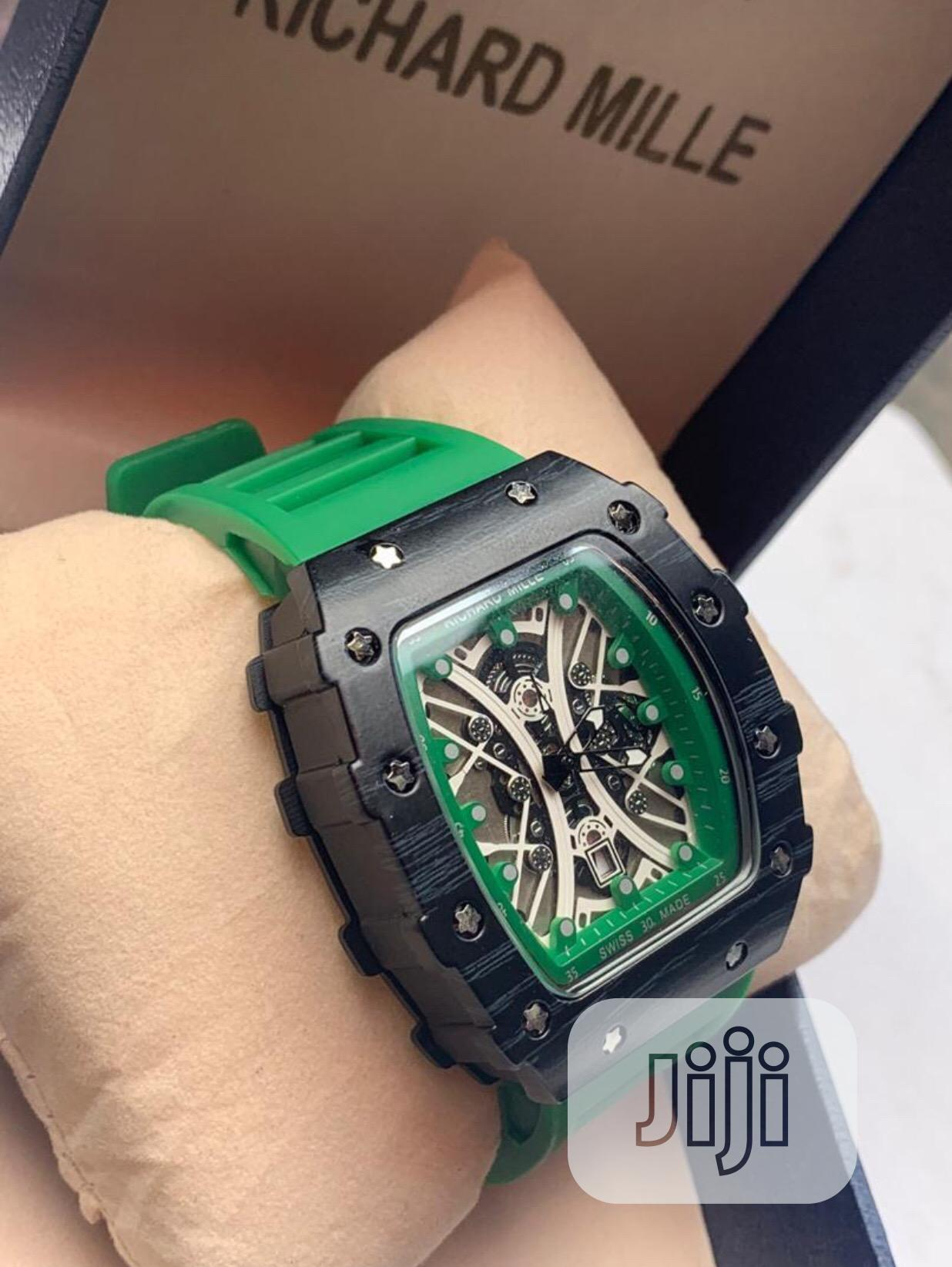 Richard Mille Green Color Band Mechanical Watch