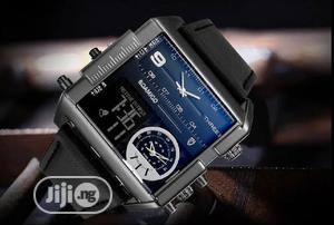 Big Dial 3 Time Zone Quartz Men's Wristwatch | Watches for sale in Lagos State, Gbagada