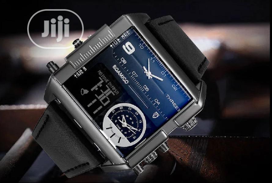 Big Dial 3 Time Zone Quartz Men's Wristwatch