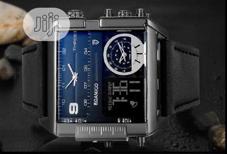 Big Dial 3 Time Zone Quartz Men's Wristwatch | Watches for sale in Gbagada, Lagos State, Nigeria