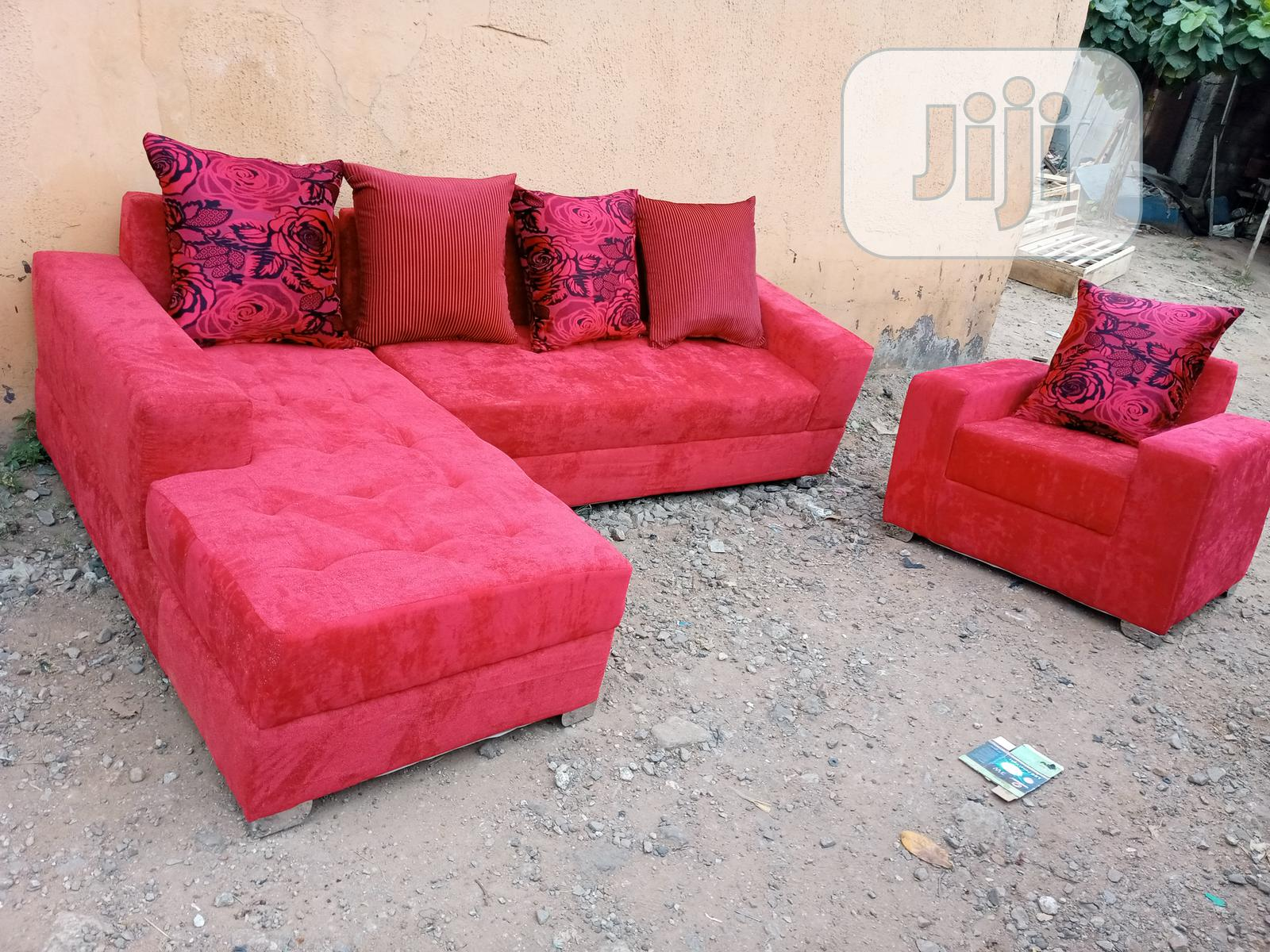 A Set of L-Shape Sofa With Single Seater Chair. Fabric Couch