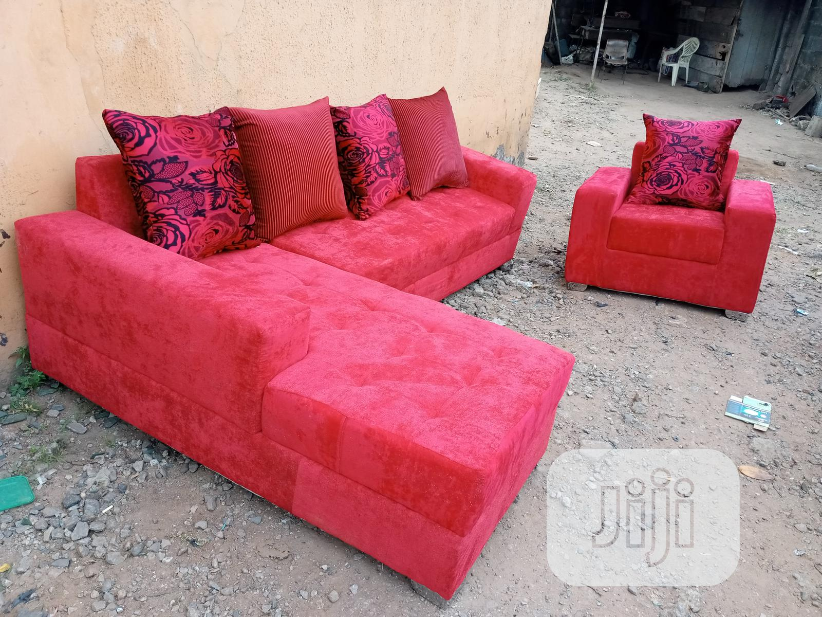 Set of L-Shape Sofa and Single Seater Chair - Fabric Couch