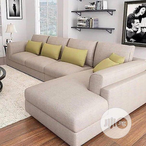 L Shape With Pillow Fabric Sofa