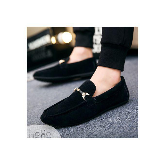 Designers Men's Swede Loafers Shoe - Black