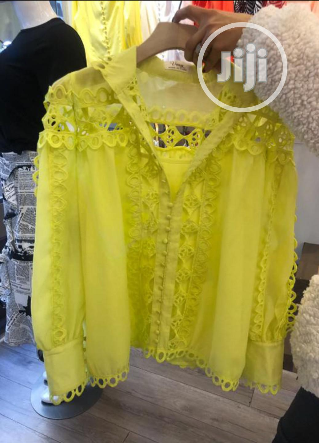 Ladies Yellow Mesh and Lace Top