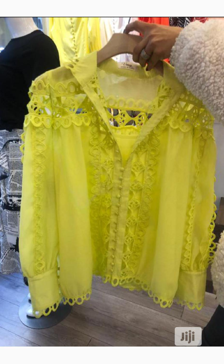 Ladies Yellow Mesh and Lace Top | Clothing for sale in Lagos Island (Eko), Lagos State, Nigeria