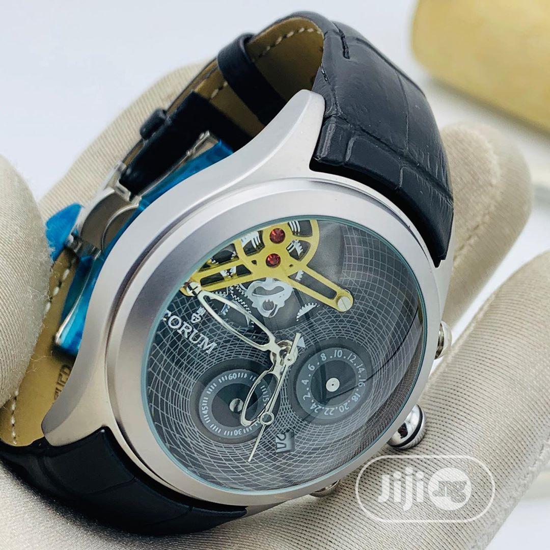 Corum Chronograph Silver Leather Strap Watch