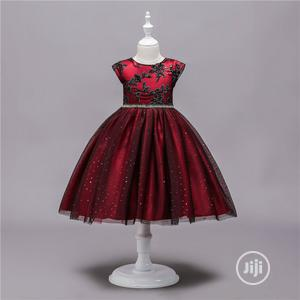 Red Dorissa Dress With Black Sequence   Children's Clothing for sale in Lagos State, Surulere