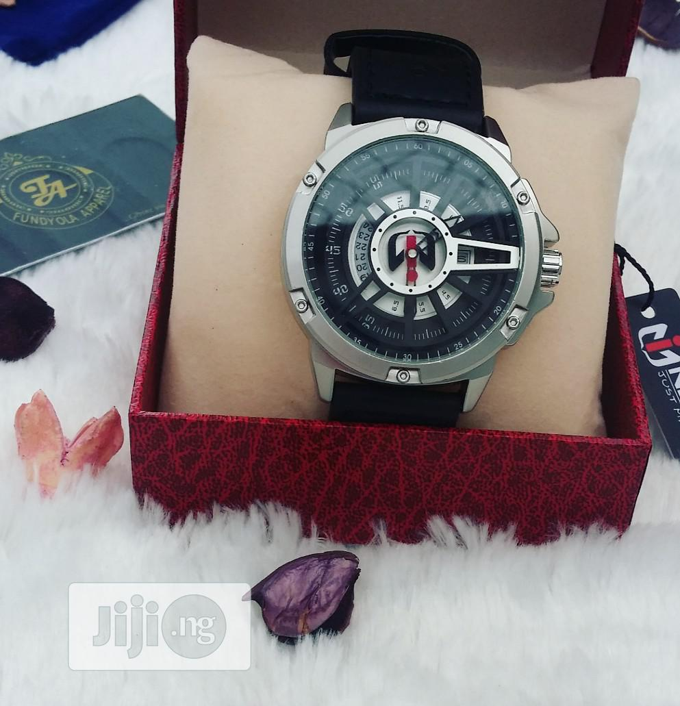 Black Leather Rubber Strap Nepic Wristwatch