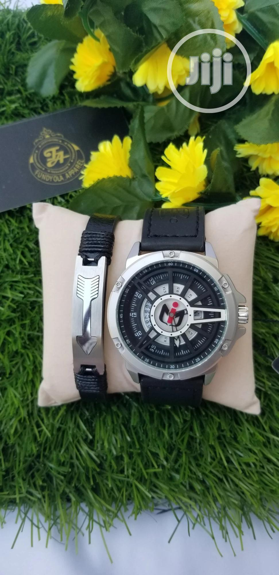 Black Leather Rubber Strap Nepic Wristwatch | Watches for sale in Ajah, Lagos State, Nigeria
